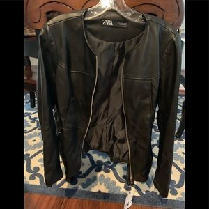 Zara black leather jacket size xl